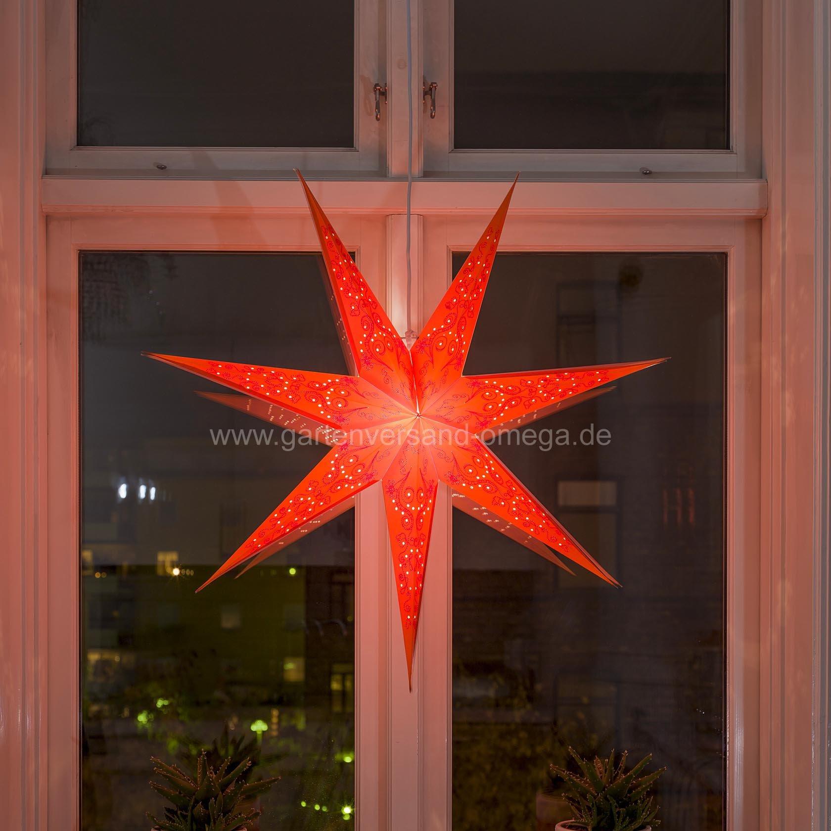 Beleuchteter papierstern rot perforiert bestickter - Stern beleuchtet weihnachten ...