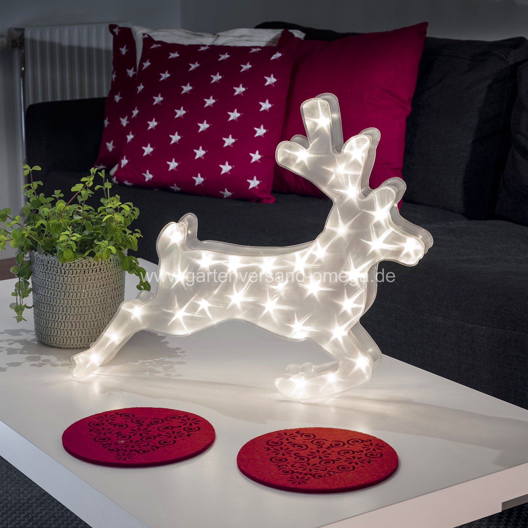 effektdekoration led kunststoffrentier sterneffekt weihnachtsbeleuchtung holografie effekt. Black Bedroom Furniture Sets. Home Design Ideas
