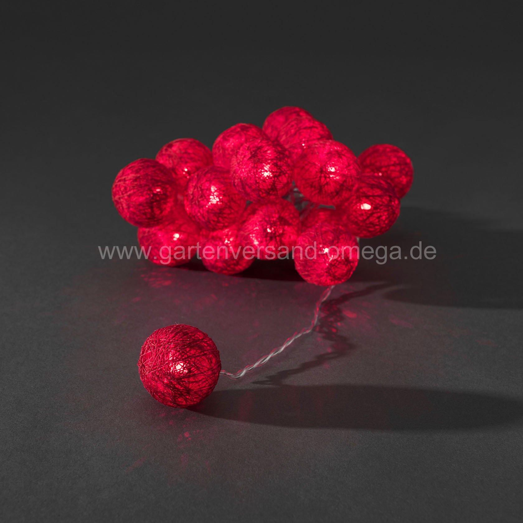 led dekolichterkette rote baumwollkugeln dekorationslichterkette weihnachtsdekoration. Black Bedroom Furniture Sets. Home Design Ideas