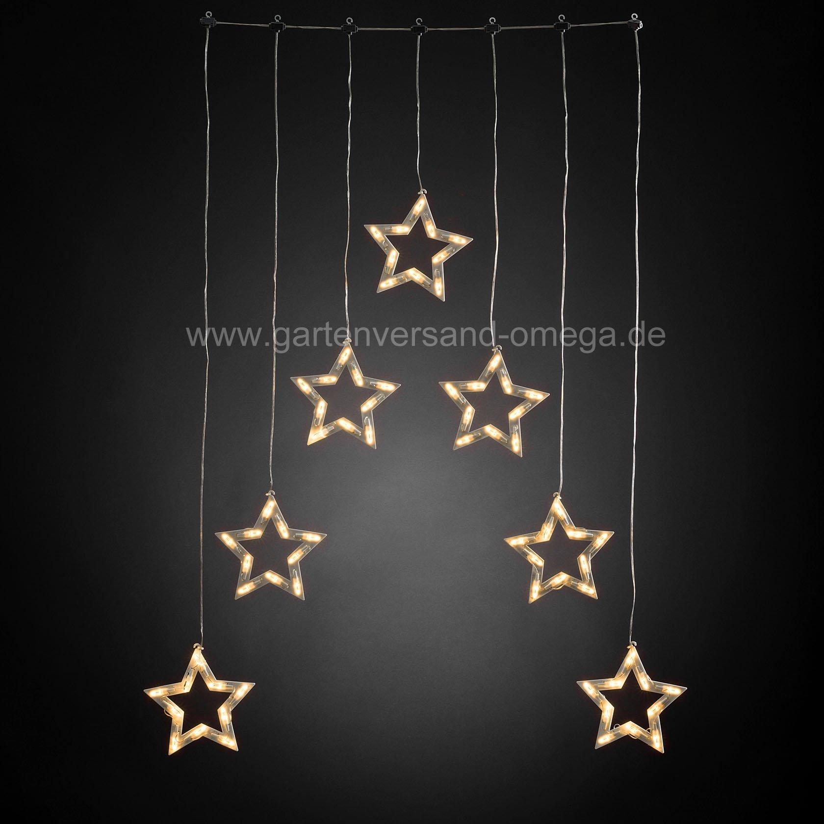 Led lichtervorhang mit sternensilhouetten for Lichtervorhang weihnachten