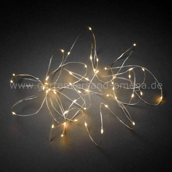 LED Tropfenlichterkette Bernsteinfarben mit silbernem Draht