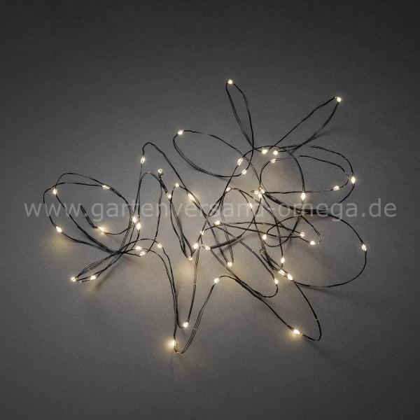 LED Tropfenlichterkette mit schwarzem Draht Warm-Weiß