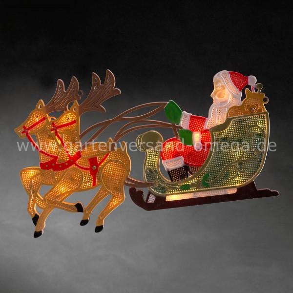 LED-Fensterbild Rentier mit Weihnachtsmann und Schlitten