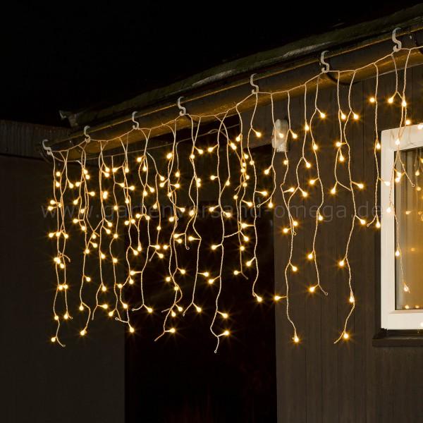 LED Eisregen-Lichtervorhang mit Globes Bernsteinfarben