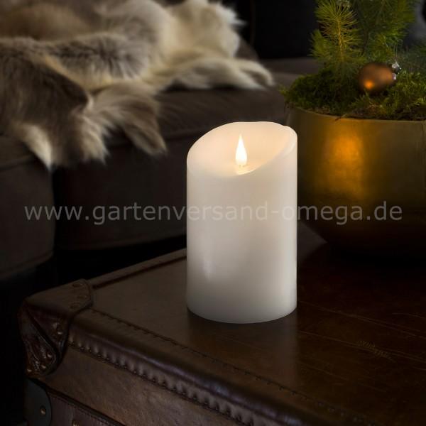 LED Echtwachskerze Breit mit 3D Flamme
