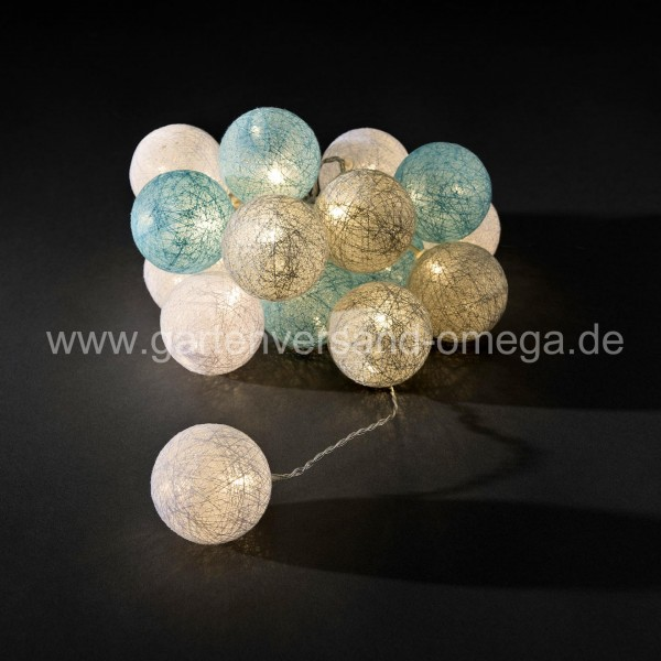 LED Baumwollkugellichterkette Hellblau-Grau-Weiß Groß