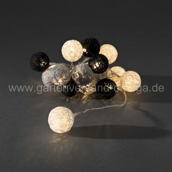 LED Baumwollkugellichterkette Schwarz-Grau-Weiß Klein