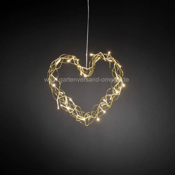 LED-Metallsilhouette Herz Gold