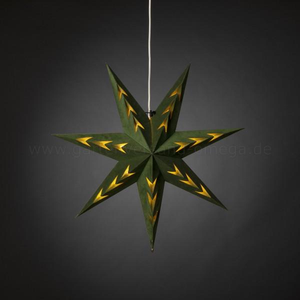 Grüner Samt-Papierstern V-förmig perforiert 60cm