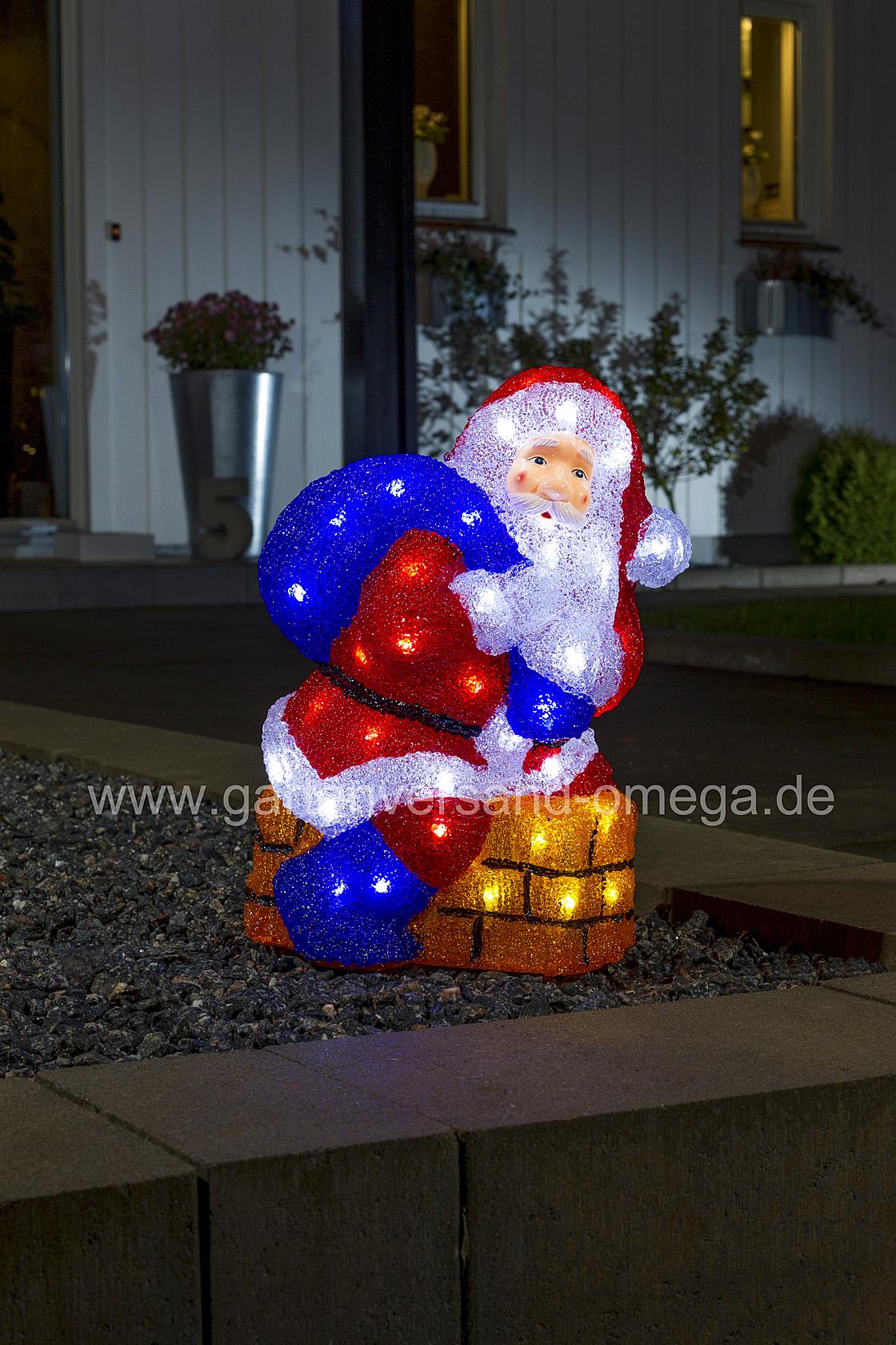 Weihnachtsbeleuchtung Figuren Led.Led Acrylfigur Weihnachtsmann Mit Schornstein
