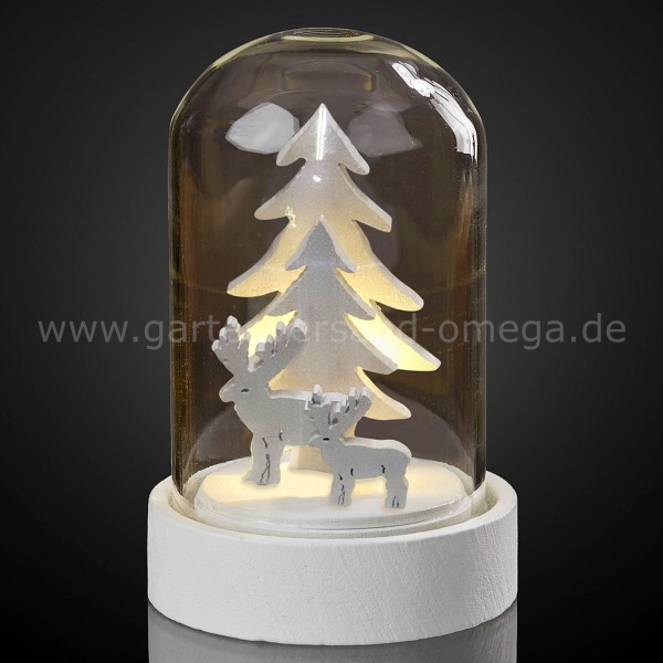 LED-Glasglocke mit Tannenbäumen und Rentieren