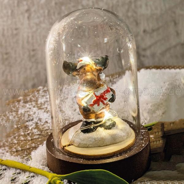LED-Glasglocke Rentier mit Geschenk - Mitbringsel Weihnachten