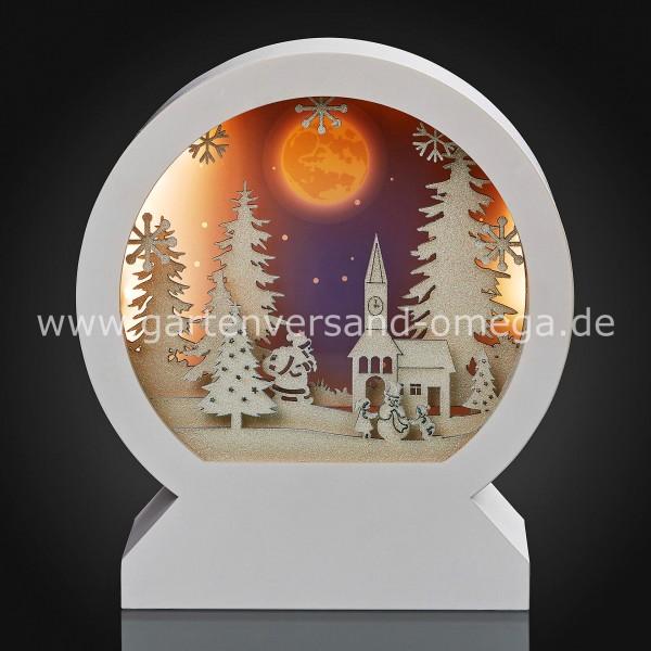 LED 3D-Rundbild Winterliche Kirche und Weihnachtsmann