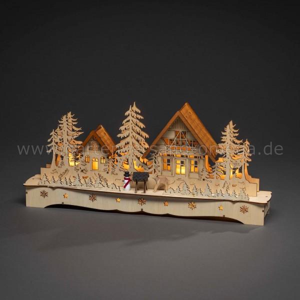 Weihnachtsdekoration LED-Holzleuchter Dorf mit Schneemann