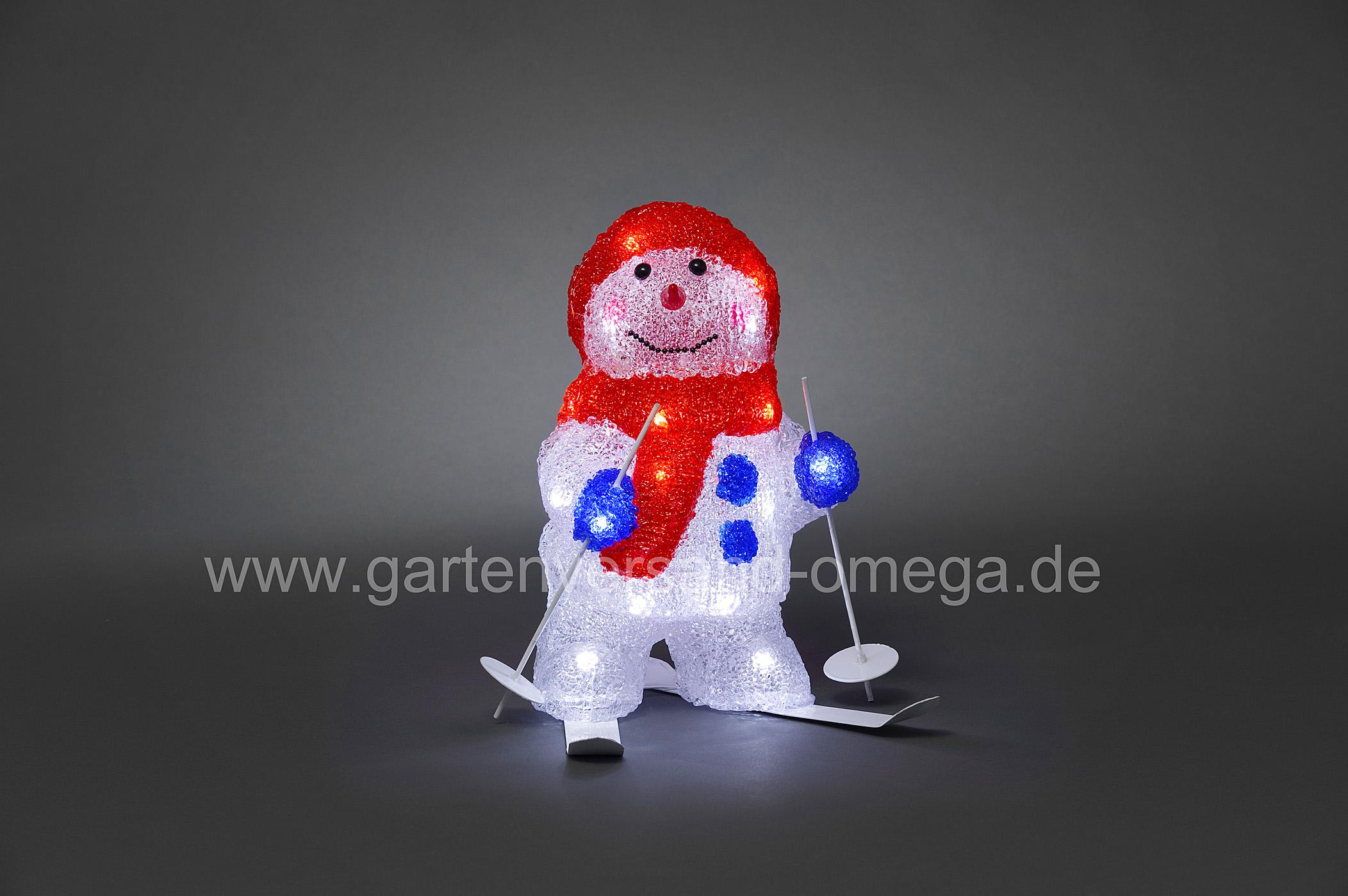 led acrylfigur schneemann mit ski beleuchtete weihnachtsfiguren led schneemann. Black Bedroom Furniture Sets. Home Design Ideas