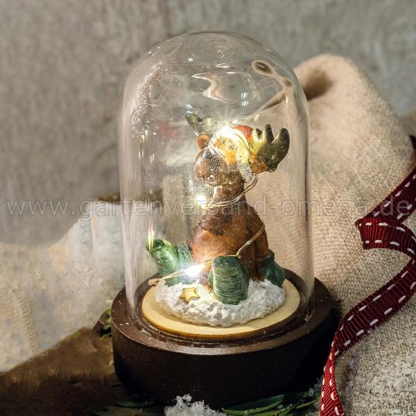 LED-Glasglocke Sitzendes Rentier - Weihnachtsdeko Schreibtisch