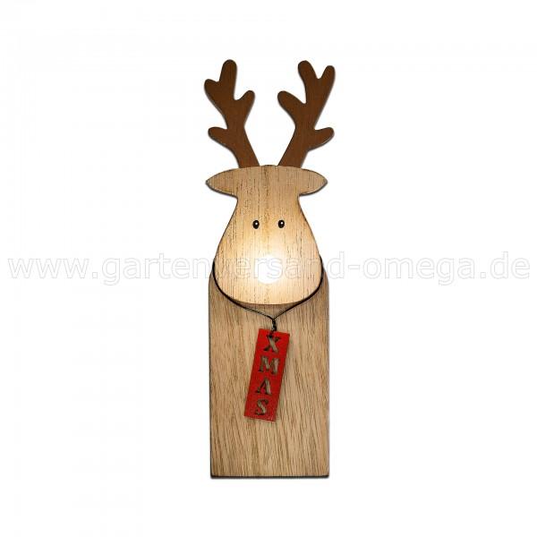 LED Holz-Rentier mit leuchtender Nase 20cm - Holzfigur beleuchtet