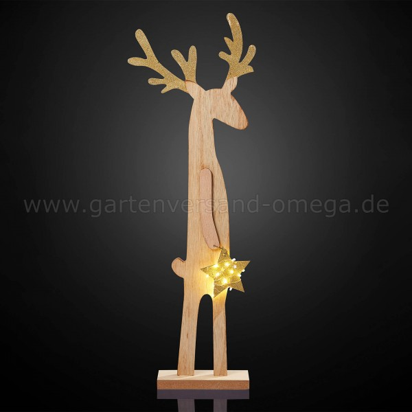 LED Holz-Rentier mit Stern