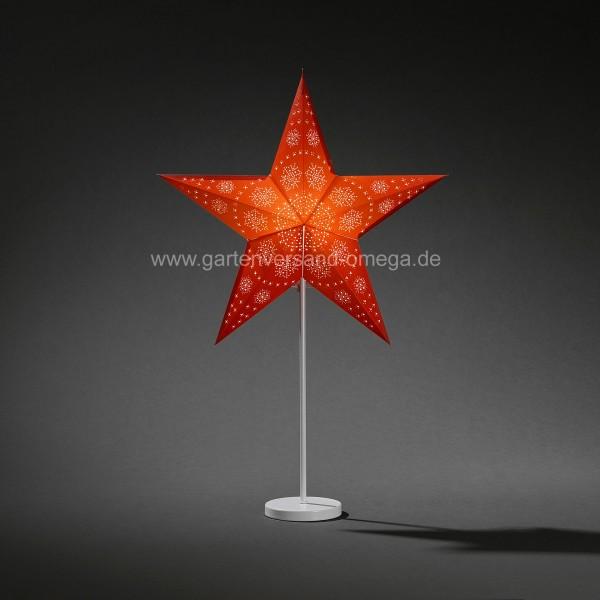 Beleuchteter Papierstern Rot mit Metallfuß