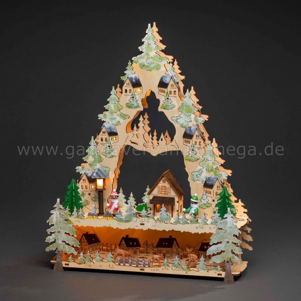 Weihnachtsdekoration LED-Holzpyramide Dorf