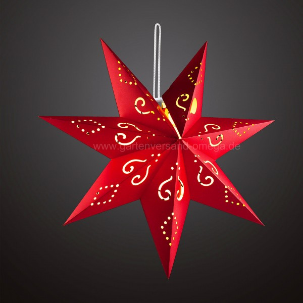 Papiersterne Weihnachtsbeleuchtung.Batteriebetriebener Led Papierstern Rot