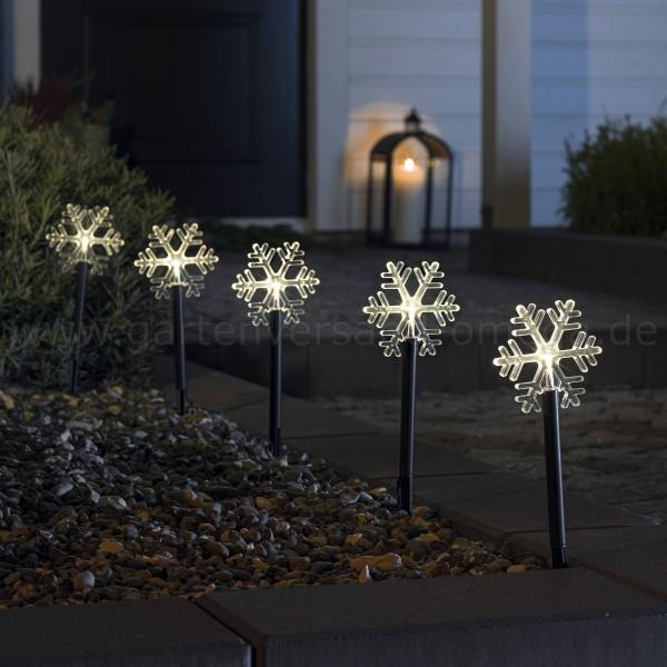 LED-Spießleuchte mit Schneeflocken - Weihnachtsaußenbeleuchtung