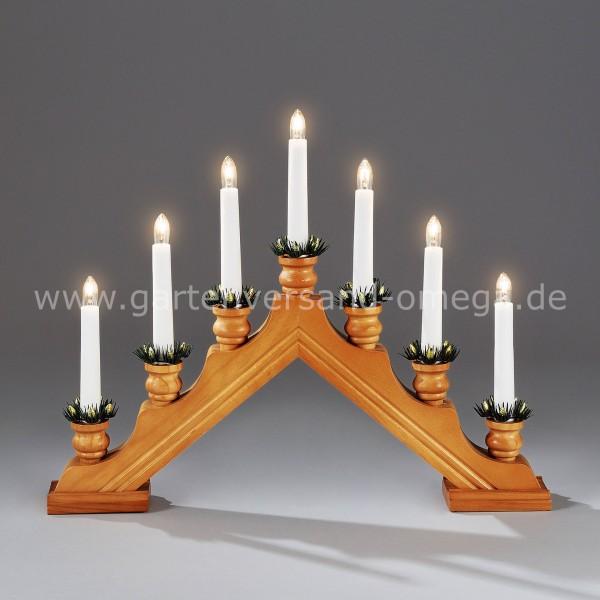 Weihnachtsbeleuchtung Lichterbogen.Holzleuchter Eiche Gebeizt