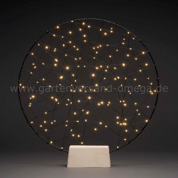 LED-Metallsilhouette Ring mit Holz-Fuß