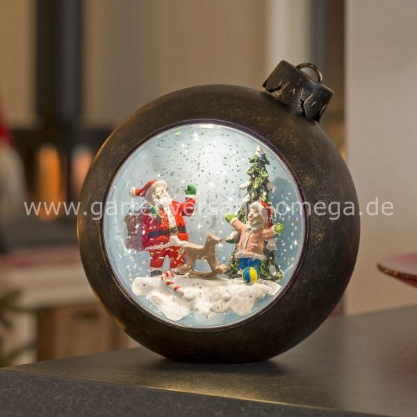 LED-Weihnachtskugel Weihnachtsmann mit Kind