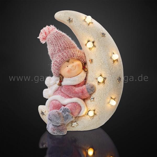 LED Dekofigur Mädchen im Mond