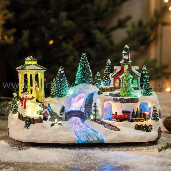 LED-Weihnachtsdorf im Fiberoptik-Stil - Weihnachtsdekoration mit Musik