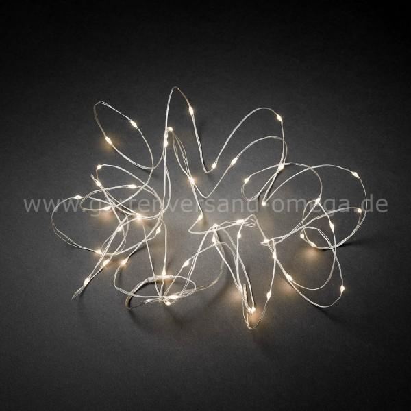 LED Tropfenlichterkette Warm-Weiß mit weißem Drahtkabel