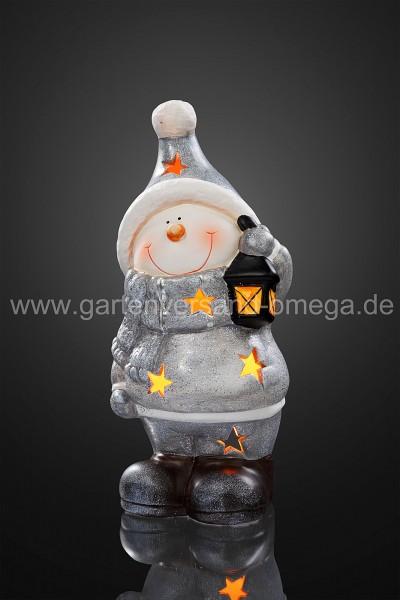 LED-Keramik-Schneemann mit Laterne