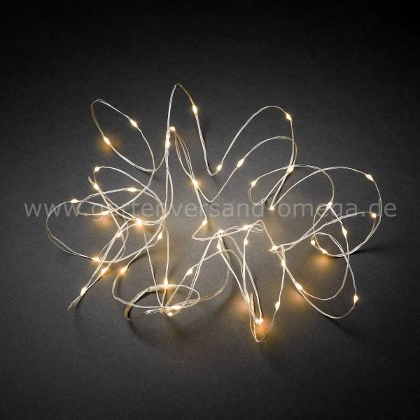 LED Tropfenlichterkette Bernsteinfarben mit weißem Drahtkabel