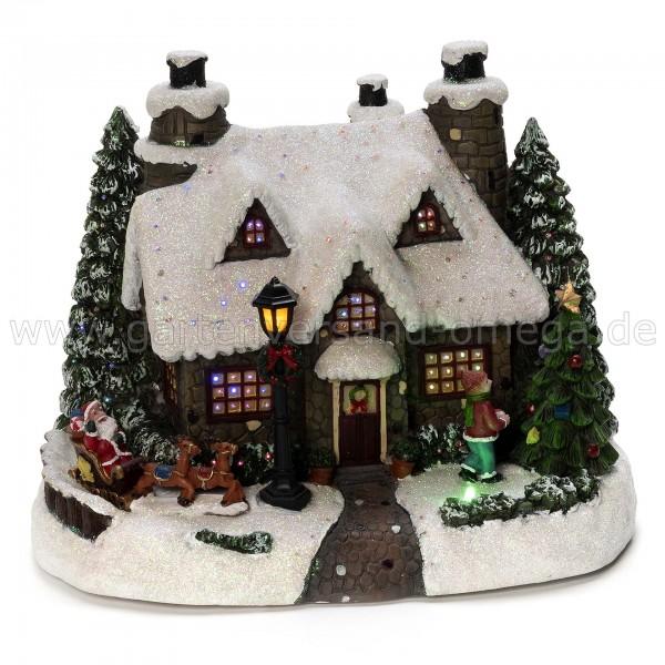 Glasfaserhaus Weihnachtsmann mit Kind