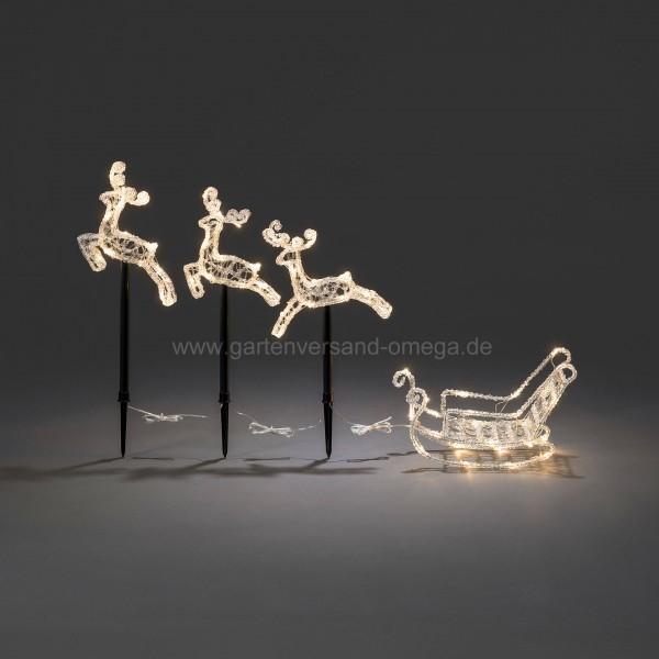 Weihnachtsbeleuchtung Schlitten.Led Acryl Set Schlitten Mit Rentieren