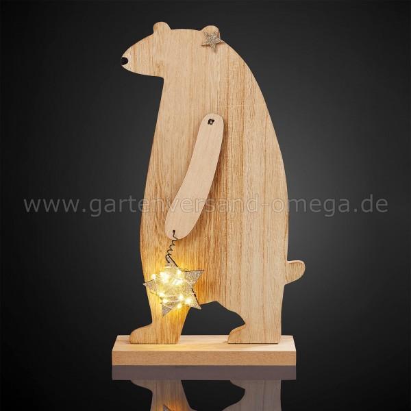 LED Holz-Bär mit Stern