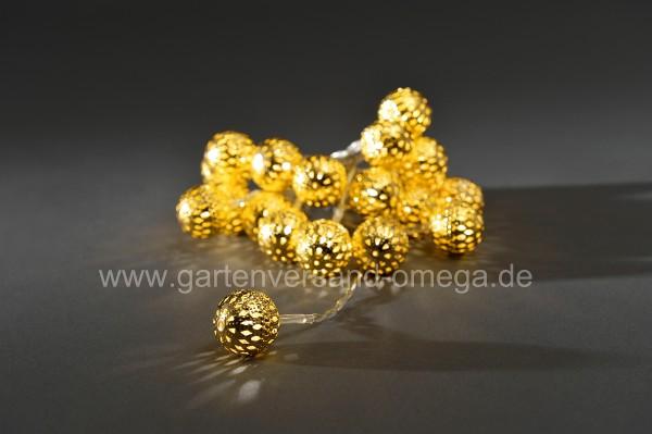 LED-Dekolichterkette mit goldenen Metallbällen