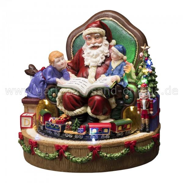 LED-Szenerie Weihnachtsmann mit Kindern und Zug