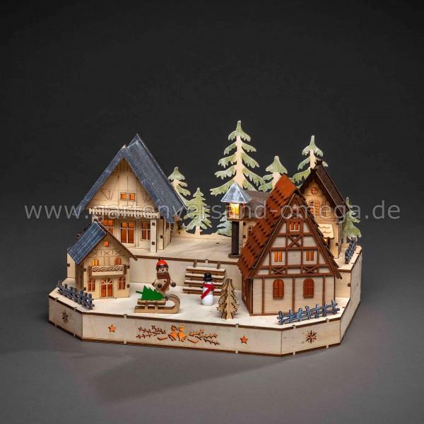 Batteriebetriebener LED-Holzleuchter Weihnachtsdorf