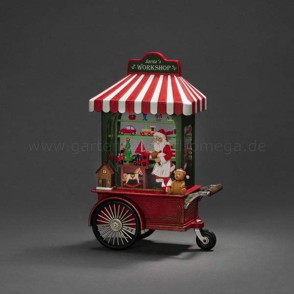 Wassergefüllte LED-Dekoration Santa in der Werkstatt