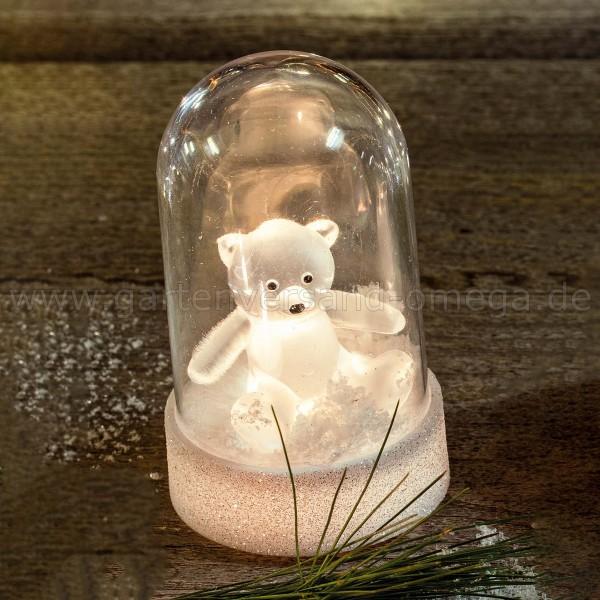 LED-Glocke mit Acryl-Bär - kleine Weihnachtsbeleuchtung