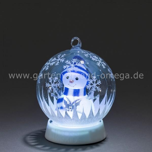 LED Dekoglaskugel Schneemann