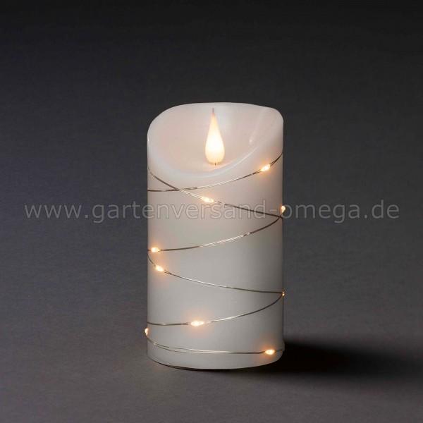 LED-Echtwachskerze mit 3D-Flamme und silbernem Draht - Ausführung Schmal