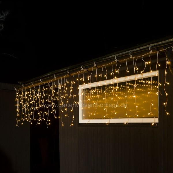 LED-Eisregen-Lichtervorhang mit weißen Globes