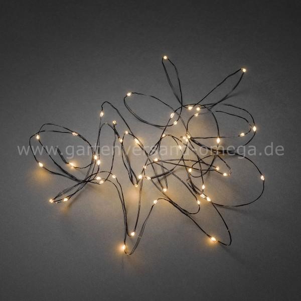 LED Tropfenlichterkette Bernsteinfarben mit schwarzem Draht ...