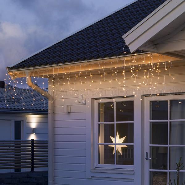 LED Eisregenvorhang gefrostet Bernsteinfarben - Dachrinnenlichterkette