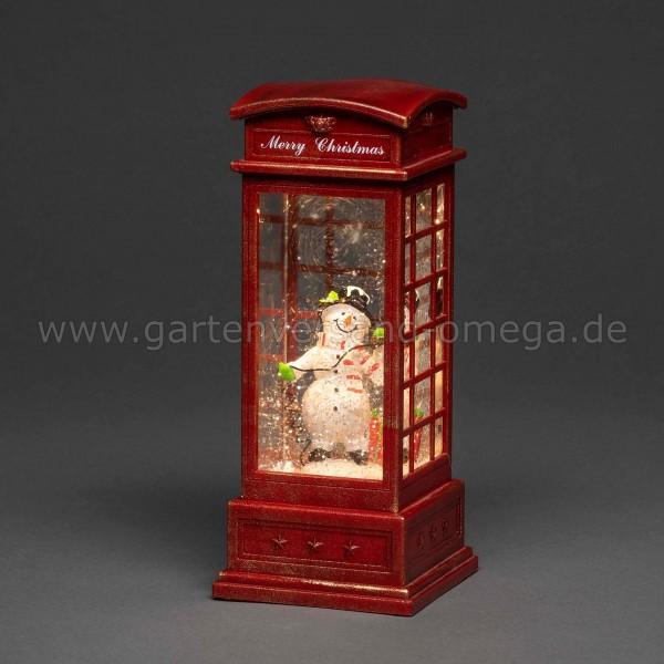 LED-Weihnachtsdekoration Telefonzelle mit Schneemann
