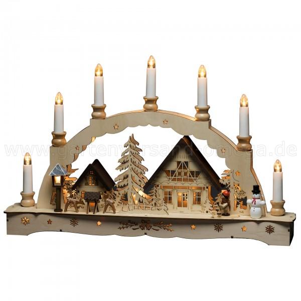 LED Lichterbogen Sieben Kerzen - Weihnachtsbeleuchtung aus Holz