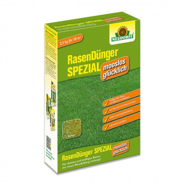 Neudorff RasenDünger SPEZIAL mooslos glücklich 2,5kg - Speziell abgestimmt auf stark vermooste Rasenflächen